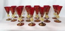 Set of 16 Venetian Glass Goblets, Dolphin