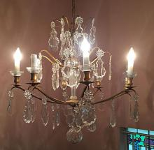 Baccarat Bronze and Crystal Eight Arm Chandelier