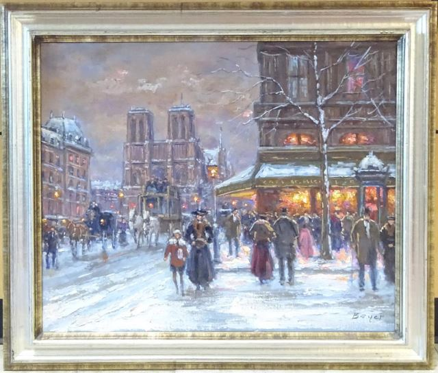 Jean Boyer Oil Painting, Cafe St. Michel, Paris