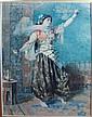Watercolor, Moorish Dancer. Signed F. de Maria.