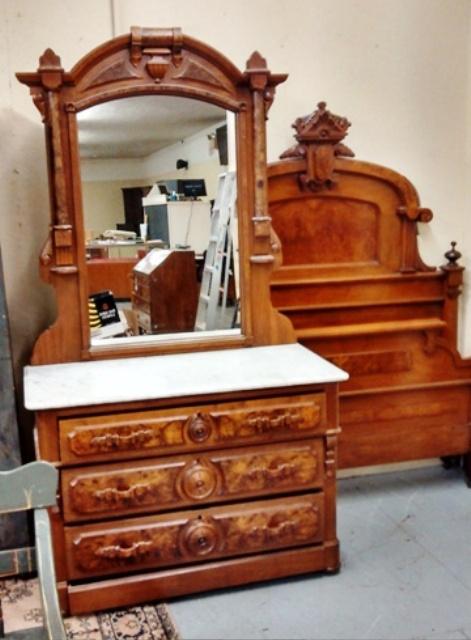 Walnut 1800 39 s 2 piece marble top bedroom set for American walnut bedroom furniture
