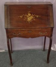 Small drop front writing desk with one drawer with floral inlay on front