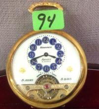 Arnex 15 jewel 8-day Swiss made Pocket Watch running