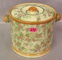 Early handpainted floral design Biscuit Jar
