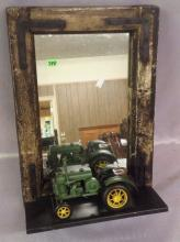 Folk Art hanging Mirror decorated with early tractor
