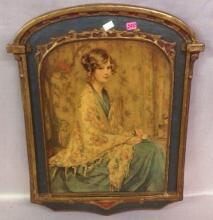 Wooden Plaque with handpainted portrait of young lady entitled Alice Blue Gown