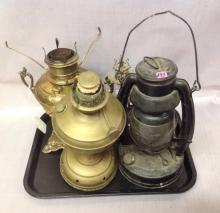 Tray lot of Four Oil Lamps, as is