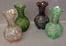 Four Imperial Grape and Leaf vases, various colors