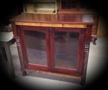 1800's Bookcase with glass front doors