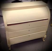 Cream painted Roll Top Desk