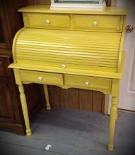 Yellow painted roll top writing desk