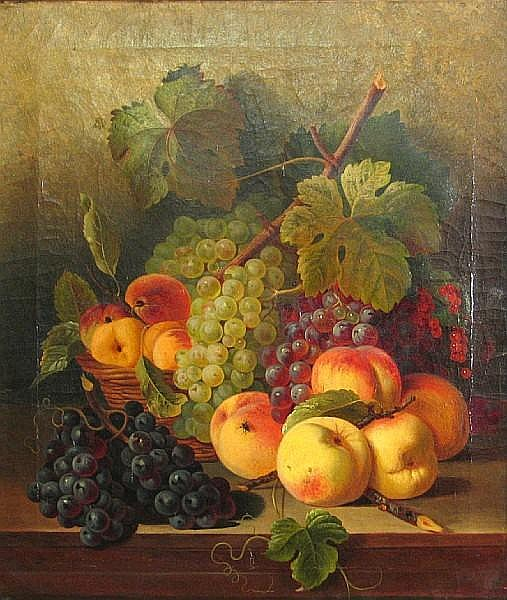 Attributed to Joseph Correggio (German, 1810-1891) A still life of grapes and other fruit resting on a table 21 x 18in
