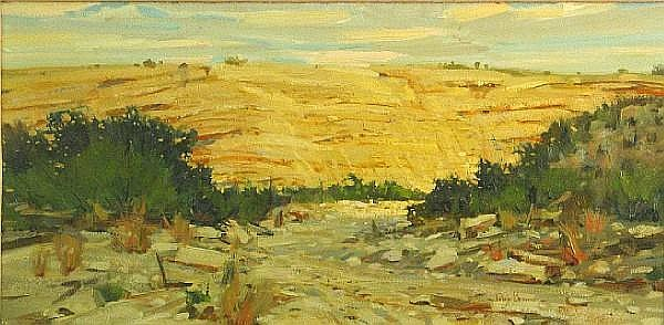 Irby Brown (American, born 1928) Desert wash 12 x 24in