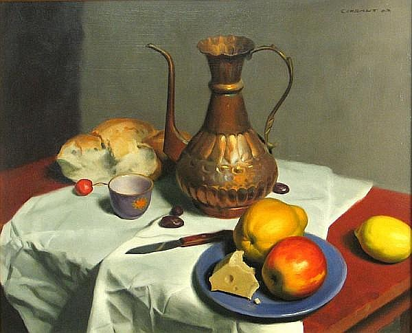 Jesse Corsaut (American, born after 1929-) Still life with fruit and cheese, 1963 19 3/4 x 24in