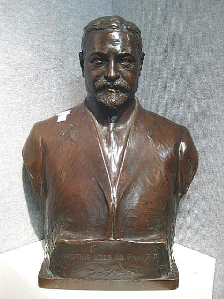 An American patinated bronze bust of Dr. Morris Loeb after a model by Karl Theodore Francis Bitter (American, 1867-1915)