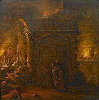 Claes Jansz van der Willigen (Dutch, 1630-1676) The burning of Troy 18 1/2 x 18 1/4in (47 x 46.4cm)