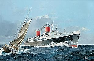 Colin Verity (British, 20th Century) S.S. United States - Blue Riband 24 x 36 in. (60.9 x 91.4 cm.)