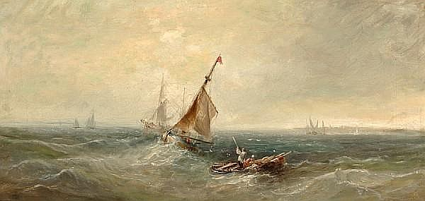 William Webb (British, 1780-1846) Fishing vessels long the shore 12 x 24 in. (30.4 x 60.9 cm.)