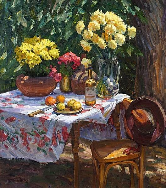 Tim Solliday (American, born 1952) Still life with vases of flowers and fruit 27 1/4 x 24in