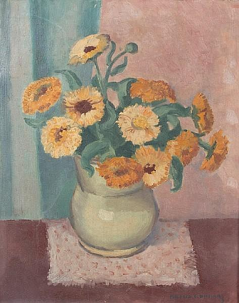 Mildred Emerson Williams (American, 1892-1967) Still Life of a Vase of Flowers 18 x 15in