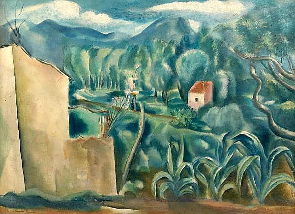Hermine David (French, 1886-1971) Campagne provençale (no. 9), 1923 20 x 27 1/2in (50.8 x 69.8cm)