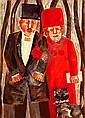 Franz Borghese (Italian, born 1941) Couple with Dog 27 5/8 x 19 3/4in (70.1cm x 50.2cm), Franz Borghese, Click for value