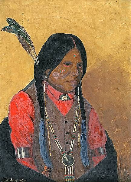 Edward Rufus Hill (American, 1851-1908) Portrait of an Indian 13 7/8 x 10in