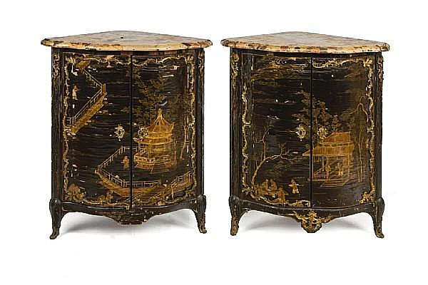 A pair of Louis XV ormolu-mounted black lacquer encoignures