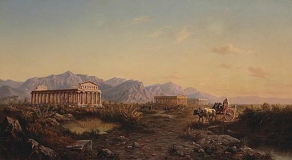 Julius O. Montalant (American, 1823-1898) A view of the Valley of the Temples, Agrigento, Sicily 22 ¼ x 40in (56.5 x 101.6cm)