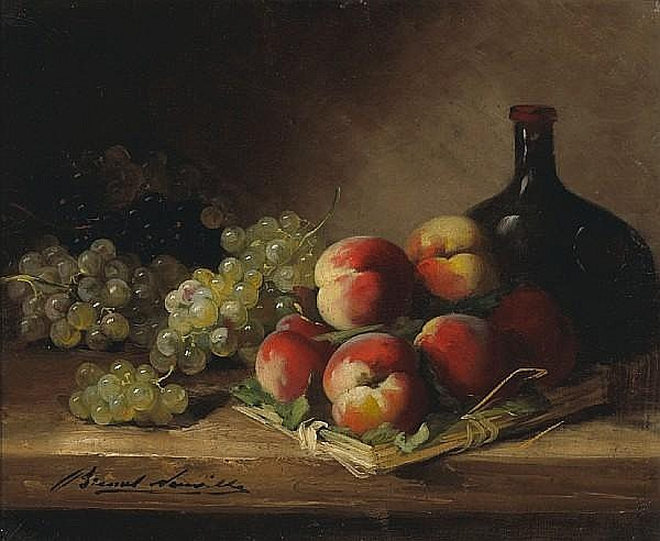 Alfred Arthur Brunel de Neuville (French, 1852-1941) A still life with red currants and plums in a wicker basket; and a companion still life (a pair) 15 x 18in (38.1 x 45.7cm)