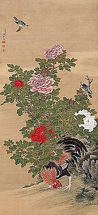 Rooster, minivets and peonies By Ganku (1749-1838)