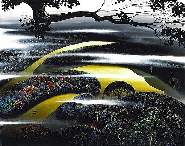 Eyvind Earle (American, 1916-2000) A Summer Day (Santa Cruz Hills), 1995 22 x 28in