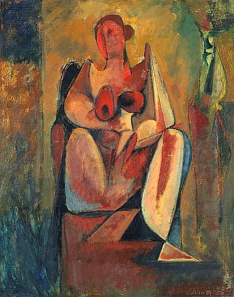 Hans Gustav Burkhardt (American, 1904-1994) Seated Female Nude, 1956 20 x 16in