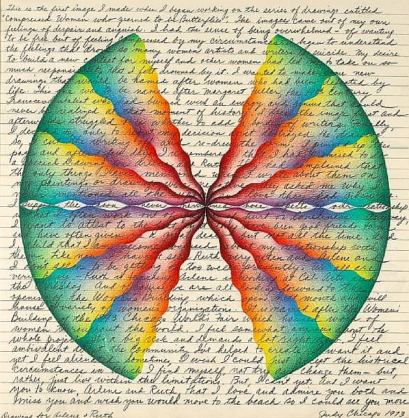 Judy Chicago (American, born 1939) Drawing for Ruth and Arlene (from Compressed Women Who Yearned to Be Butterflies series), 1973 20 3/4 x 20 3/4in
