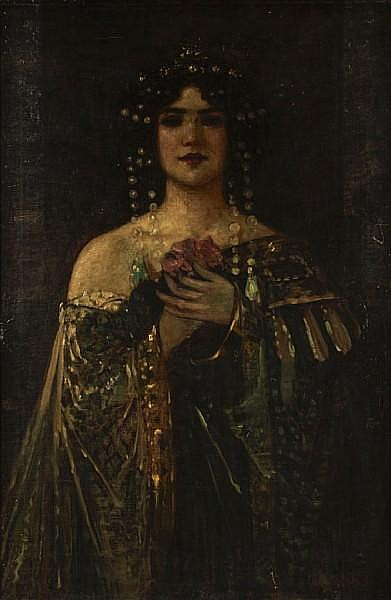 Andor Dudits (Hungarian, 1866-1944) A portrait of a dark haired beauty, thought to be Salome 36 x 23in