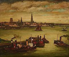 Julien Creytens (Belgian, 1897-1972) Antwerp, 1938 39 x 47in