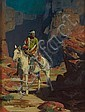 David Mann (American, born 1948) Indian on horseback in a canyon 13 1/2 x 10 1/2in, David Mann, Click for value