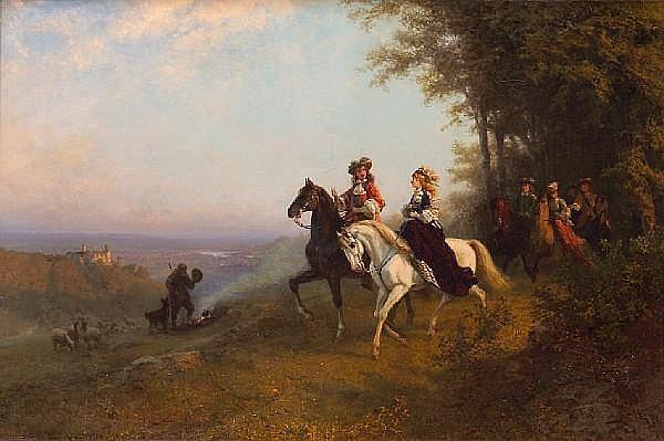 Carl Schlesinger (Swiss, 1825-1893) The morning ride 31 1/2 x 47 1/2in (80 x 120.6cm)