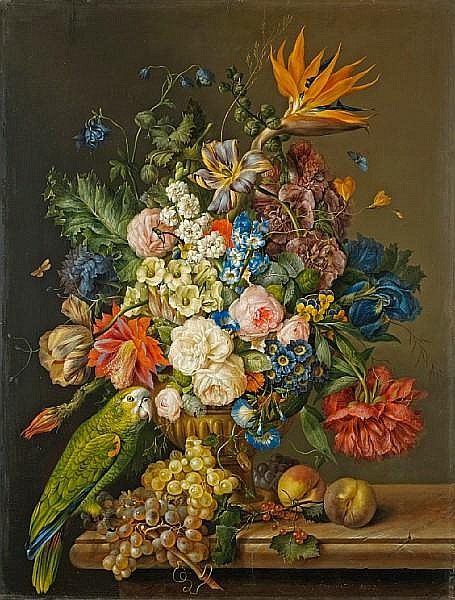 Franz Xavier Petter (Austrian, 1791-1866) A still life of roses, tulips, a bird of paradise, and other flowers in an urn, beside a green parrot, grapes and peaches on a marble ledge; also a still life of roses, hydrangeas, poppies and other flowers