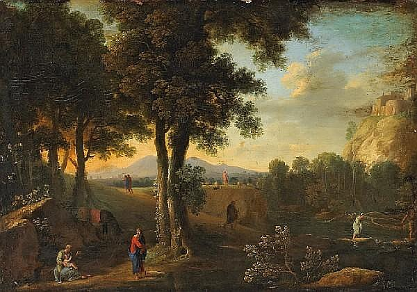 Attributed to Herman van Swanevelt (Dutch, circa 1600-1665) The Holy Family in a landscape 29 x 43 3/4in (73.6 x 111.1cm)