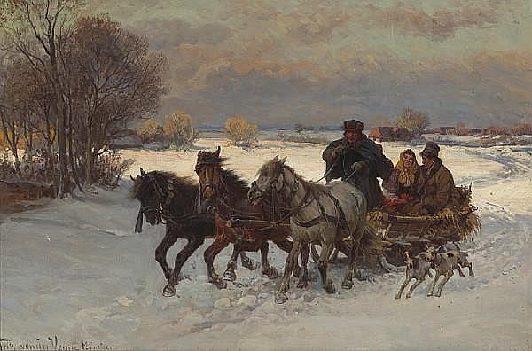 Fritz Ritter von Venne (German, 1873-1936) A winter romance 15 3/4 x 24in (40 x 61cm)