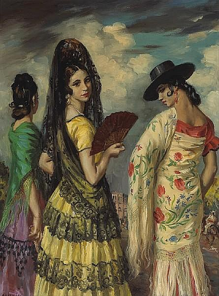 George Owen Wynne Apperley (British, 1884-1960) The afternoon of the Corrida, Granada 24 x 18in (61 x 45.7cm)