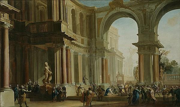 Attributed to Filippo (il Bizzarro) Gagliardi (Italian, ?-1659) An architectural capriccio with Christ and the Woman taken in Adultery in the foreground 50 3/4 x 84 3/4in (129 x 215cm) unframed