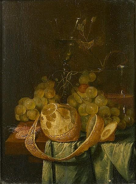 Attributed to Jan van den Hecke (1620-1684) A still life with grapes, a peeled lemon and 12 3/4 x 9 3/4in (32.4 x 24.7cm)