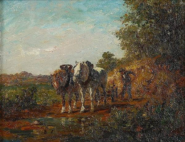 Walther Günther Julian Witting (German, 1864-1940) On the road 10 3/4 x 14in