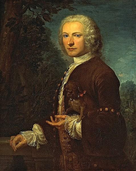 Circle of Jean François Delyen (French, born circa 1684-1761) A portrait of a gentleman, half-length, holding a small dog 36 x 29in
