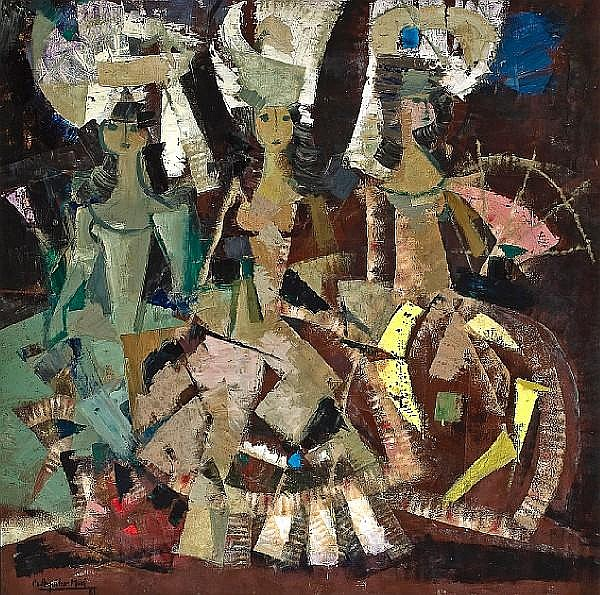 Ramón Aguilar Moré (Spanish, born 1924) Three Senoritas, 1962
