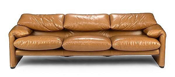 A Vico Magistretti leather upholstered Maralunga 675 sofa