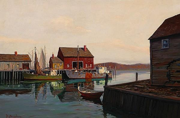 Hjalmar Amundsen (American, 1911-2001) Fishing boats 24 x 36 1/4in
