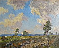 George Victor Grinnell (American, 1878-1946) September clouds 14 x 17in